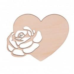Serce z różą ze sklejki 9cm